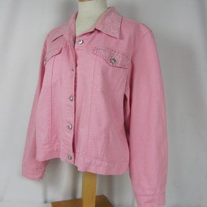 Christine Alexander Pink Swarovski Denim Jacket L
